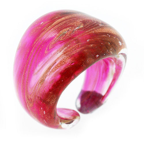 Venetian Murano Glass Pink 24 Carat Gold Foil Ring