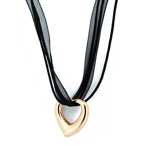 Floating Rose Gold Open Heart Puffy Pendant Necklace