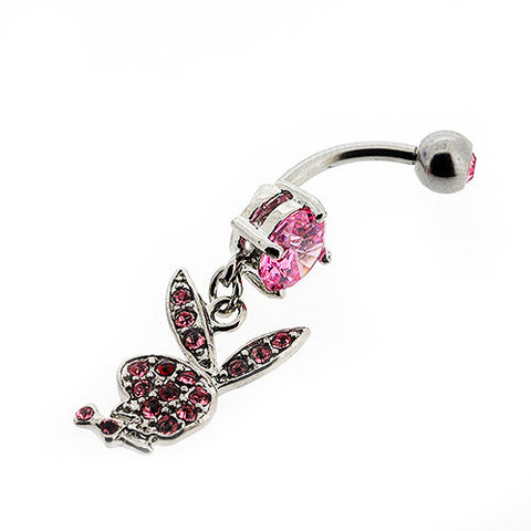 Genuine Playboy Bunny Dangle Navel Ring with Pink Gemstones