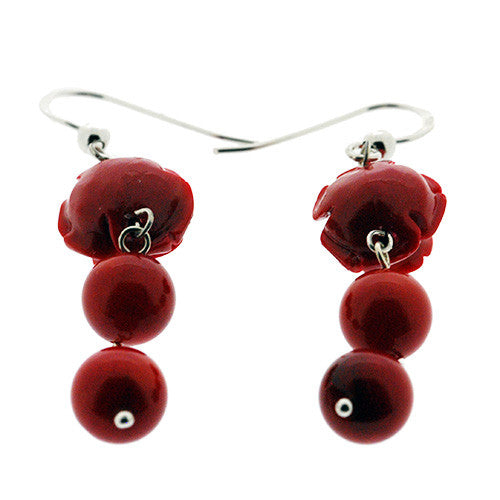 925 Sterling Silver Natural Red Coral Rose Earrings