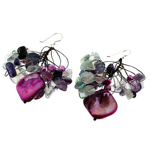 June Birthstone 925 Sterling Silver Purple Pearl Earrings