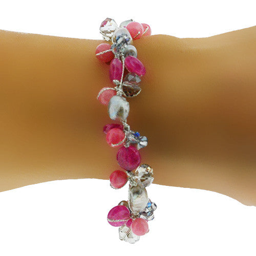 August Birthstone Pink Jade and Crystal Bracelet