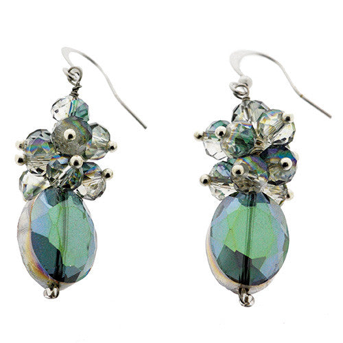 Large Iridescent Crystal Bead Drop Earrings