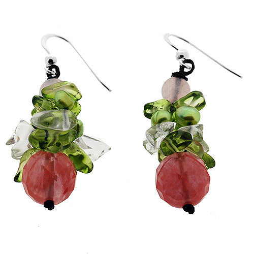 August Birthstone Sterling Silver Cherry Drop Peridot Earrings