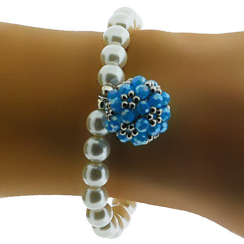 Pearl and Caribbean Blue Crystal June Birthstone Stretch Bracelet