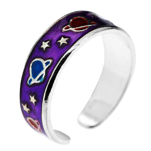 925 Sterling Silver Purple Stars and Planets Toe Ring