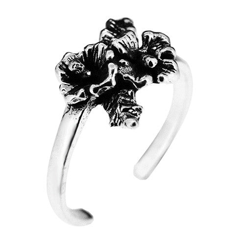 925 Sterling Silver Flower Bouquet Toe Ring