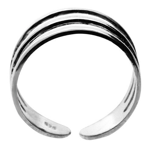 925 Sterling Silver Triple Band Curved Toe Ring