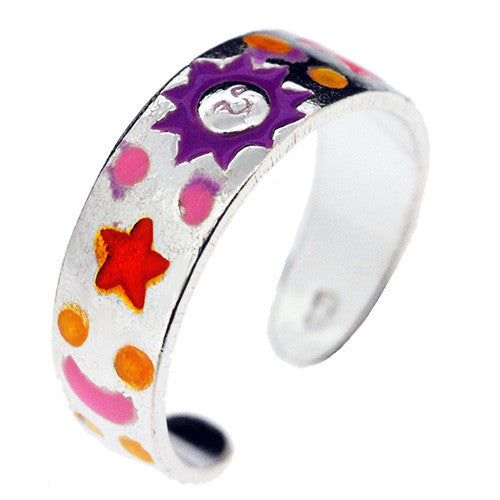 925 Sterling Silver Multicolour Moon and Stars Toe Ring