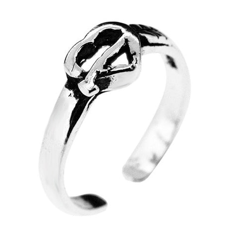 925 Sterling Silver Cupids Heart Toe Ring