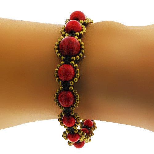 Semi Precious Red and Gold Round Bead Bracelet