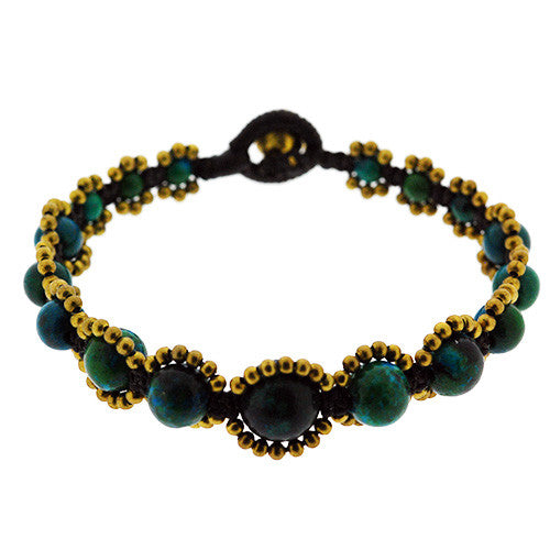Turquoise and Gold Round Bead Bracelet