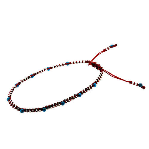 Turquoise and Silver Beads Adjustable Red Anklet