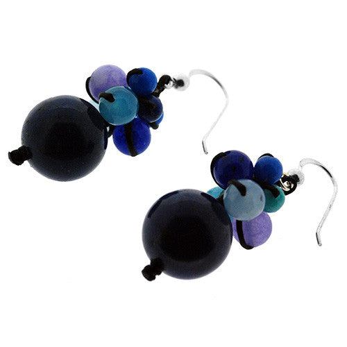 925 Sterling Silver Blue Jade Drop Earrings