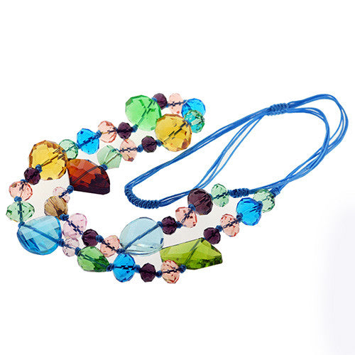 Multicolour Sparkling Crystal Long Beaded Sweater Necklace