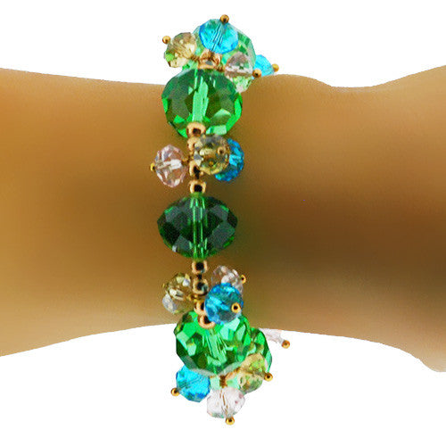 Green and Gold Chunky Crystal Sparkling Stretch Bracelet