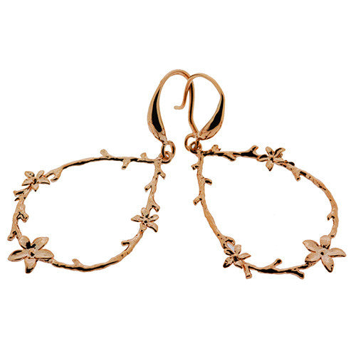 Rose Gold Plated Flower Wreath Drop Hoop Earrings