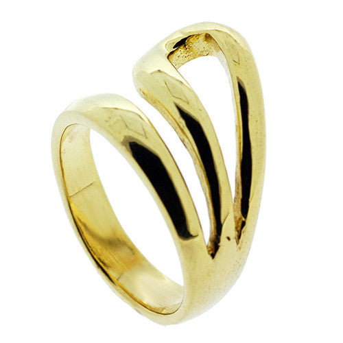 Contemporary Chunky Curved Ring in 18K Gold Plate