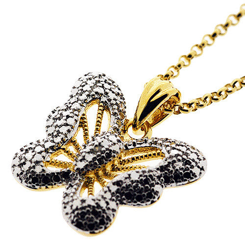 Butterfly Pendant Necklace n 14K Gold Plate and Cubic Zirconia