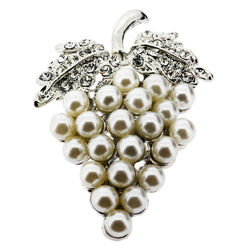 June Birthstone Grapes Brooch in Pearl and White Crystal