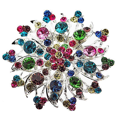 Large Sunburst Multicolour Crystal and Silver Brooch