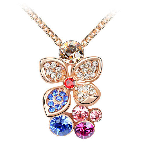 Flower Drop Pendant Necklace in Rose Gold Plate and Austrian Crystal