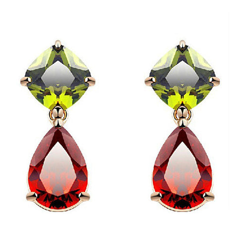 Jewelled Large Gemstone Earrings in 18K Gold Plate and Cubic Zirconia
