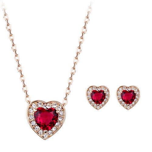 Ruby Love Heart Jewellery Set of Pendant and Earrings