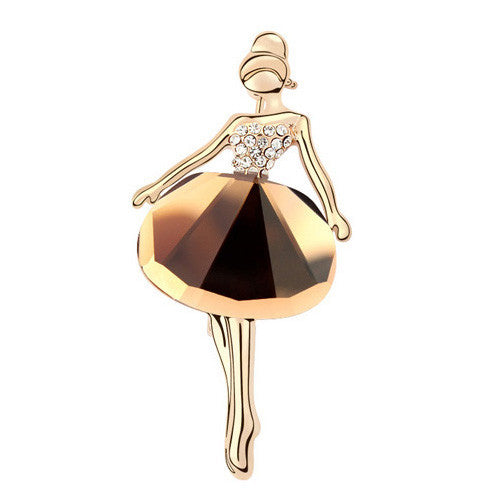 Ballerina Brooch in Crystal and 18K Gold Plate