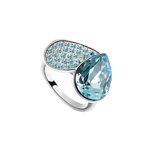 Blue Austrian Crystal Apple Cocktail Ring in White Gold Plate