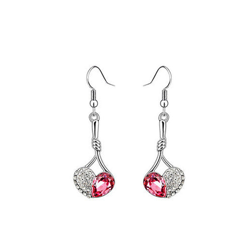 Pink Austrian Crystal Apple Drop Earrings in White Gold Plate