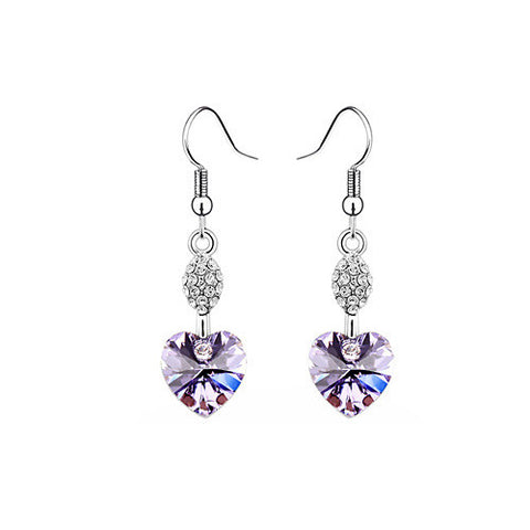 Violet Crystal Heart Drop Earrings in White Gold Plate