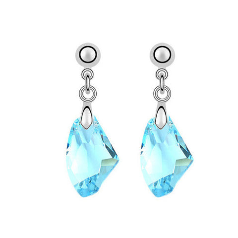 Blue Crystal Gemstone Drop Earrings in White Gold Plate