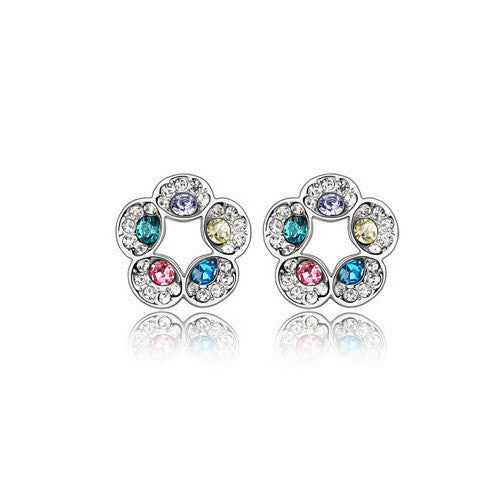 Multicolour Open Flower Crystal Stud Earrings in White Gold Plate