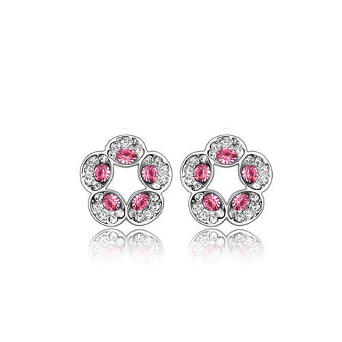 Rose Pink Open Flower Crystal Stud Earrings in White Gold Plate