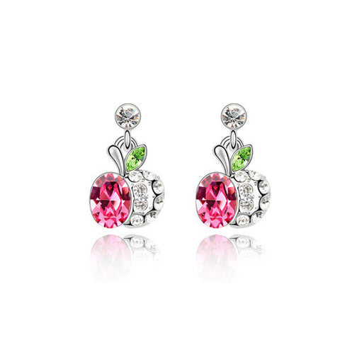 Pink Crystal Apple Leaf Drop Earrings in White Gold Plate