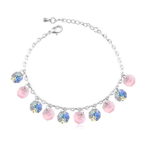 Pink and White Crystal Gemstone Anklet in White Gold Plate