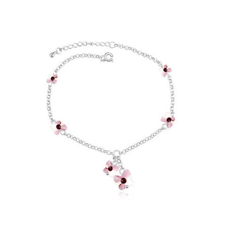 Pink Crystal Butterfly Gemstone Anklet in White Gold Plate