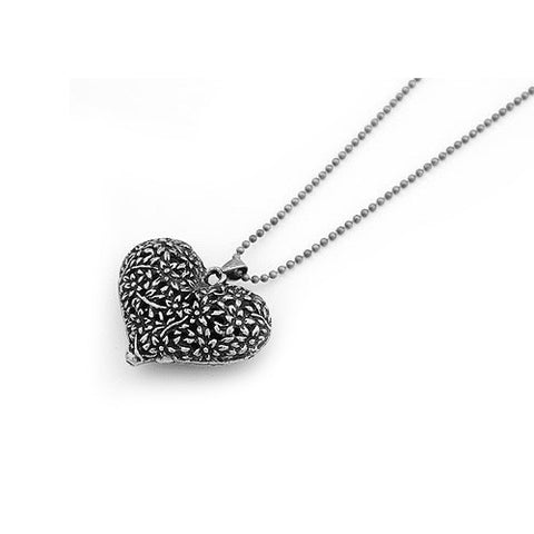 Chubby Silver Heart and Flowers Pendant Sweater Necklace