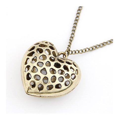 Chubby Dotty Heart Vintage Style Pendant Sweater Necklace