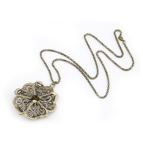 Lace Flower Beaded Vintage Style Pendant Sweater Necklace