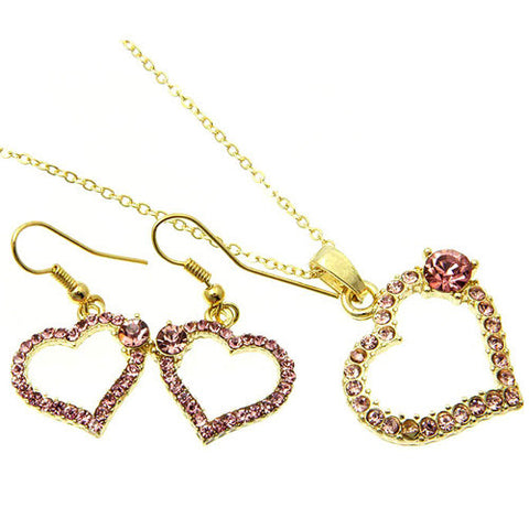 Pink Crystal Heart and Rose Necklace and Earring Set