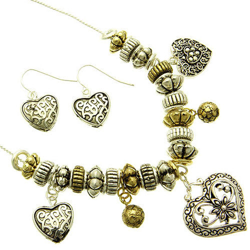 Charm Bead and Heart Antique Style Necklace and Earring Set
