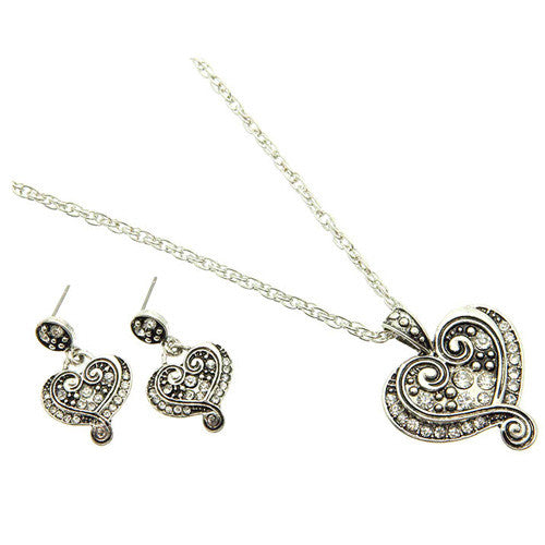 Marcasite Crystal Curved Heart Necklace and Earring Set