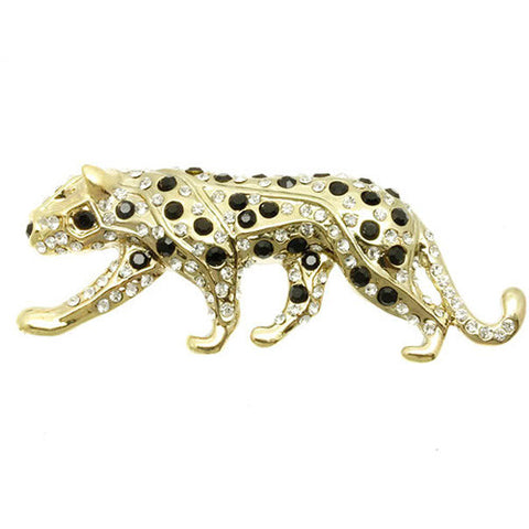 Black and White Crystal Spotted Leopard Brooch