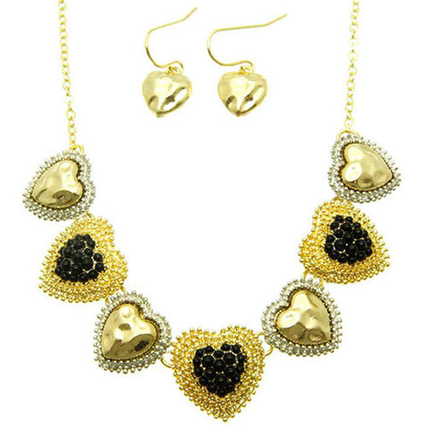 Antique Style Black and Gold Necklace and Earring Set