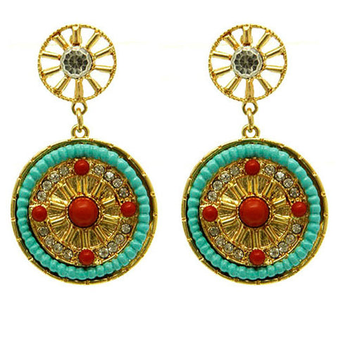 Tibetan Style Turquoise and Red Bead Drop Earrings