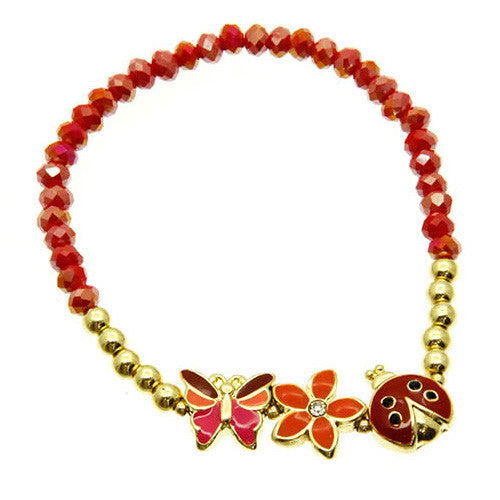 Girls Ladybird and Flower Red and Gold Stretch Bracelet