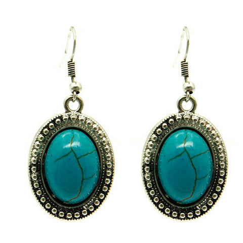 December Birthstone Turquoise and Silver Bevel Oval Drop Earrings