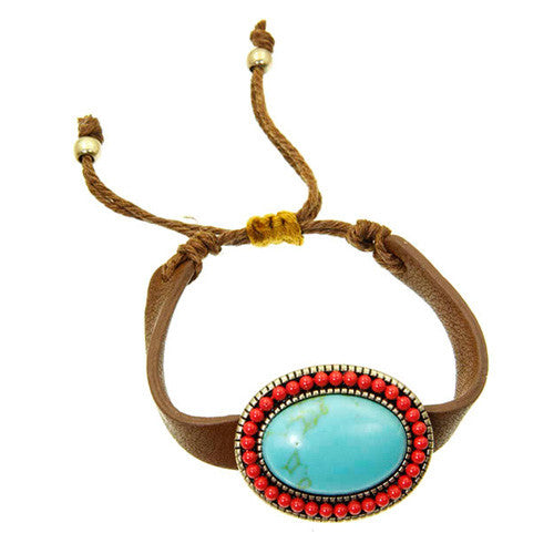 December Birthstone Turquoise and Coral Bead Oval Leather Bracelet